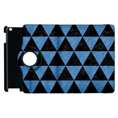 Triangle3 Black Marble & Blue Colored Pencil Apple Ipad 2 Flip 360 Case by trendistuff