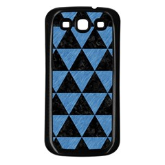 Triangle3 Black Marble & Blue Colored Pencil Samsung Galaxy S3 Back Case (black) by trendistuff