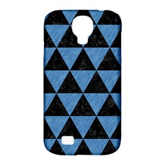 Triangle3 Black Marble & Blue Colored Pencil Samsung Galaxy S4 Classic Hardshell Case (pc+silicone)