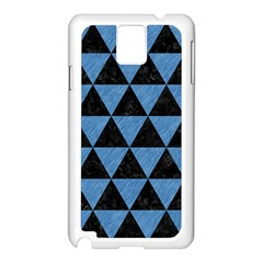 Triangle3 Black Marble & Blue Colored Pencil Samsung Galaxy Note 3 N9005 Case (white) by trendistuff