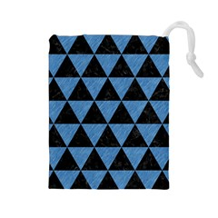 Triangle3 Black Marble & Blue Colored Pencil Drawstring Pouch (large)