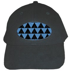 Triangle2 Black Marble & Blue Colored Pencil Black Cap by trendistuff
