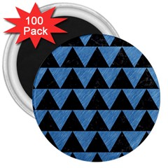 Triangle2 Black Marble & Blue Colored Pencil 3  Magnet (100 Pack) by trendistuff