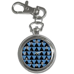 Triangle2 Black Marble & Blue Colored Pencil Key Chain Watch by trendistuff