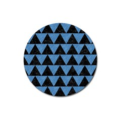 Triangle2 Black Marble & Blue Colored Pencil Magnet 3  (round) by trendistuff