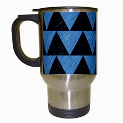Triangle2 Black Marble & Blue Colored Pencil Travel Mug (white) by trendistuff