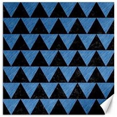 Triangle2 Black Marble & Blue Colored Pencil Canvas 12  X 12  by trendistuff