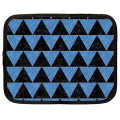 Triangle2 Black Marble & Blue Colored Pencil Netbook Case (large) by trendistuff