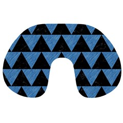 Triangle2 Black Marble & Blue Colored Pencil Travel Neck Pillow by trendistuff