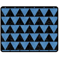 Triangle2 Black Marble & Blue Colored Pencil Double Sided Fleece Blanket (medium) by trendistuff