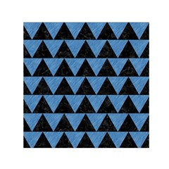 Triangle2 Black Marble & Blue Colored Pencil Small Satin Scarf (square) by trendistuff