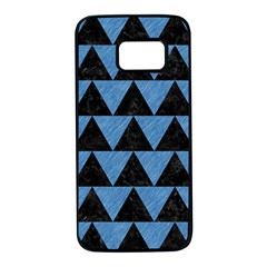 Triangle2 Black Marble & Blue Colored Pencil Samsung Galaxy S7 Black Seamless Case