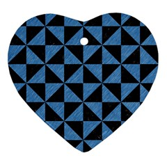 Triangle1 Black Marble & Blue Colored Pencil Ornament (heart) by trendistuff