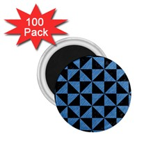 Triangle1 Black Marble & Blue Colored Pencil 1 75  Magnet (100 Pack)  by trendistuff