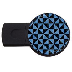 Triangle1 Black Marble & Blue Colored Pencil Usb Flash Drive Round (4 Gb) by trendistuff