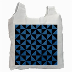 Triangle1 Black Marble & Blue Colored Pencil Recycle Bag (two Side) by trendistuff