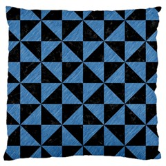 Triangle1 Black Marble & Blue Colored Pencil Large Cushion Case (one Side) by trendistuff
