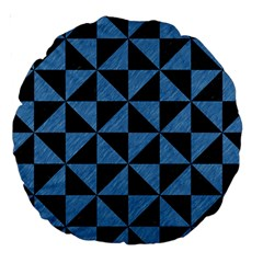 Triangle1 Black Marble & Blue Colored Pencil Large 18  Premium Round Cushion  by trendistuff