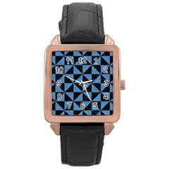 Triangle1 Black Marble & Blue Colored Pencil Rose Gold Leather Watch