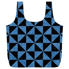 Triangle1 Black Marble & Blue Colored Pencil Full Print Recycle Bag (xl) by trendistuff