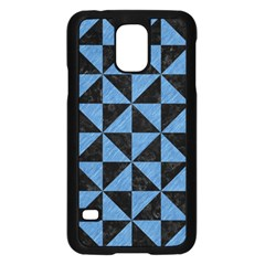 Triangle1 Black Marble & Blue Colored Pencil Samsung Galaxy S5 Case (black) by trendistuff