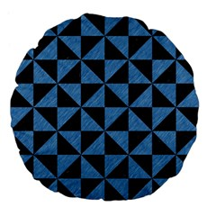 Triangle1 Black Marble & Blue Colored Pencil Large 18  Premium Flano Round Cushion  by trendistuff