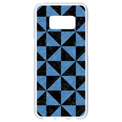 Triangle1 Black Marble & Blue Colored Pencil Samsung Galaxy S8 White Seamless Case by trendistuff