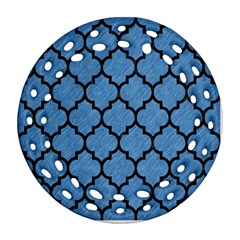 Tile1 Black Marble & Blue Colored Pencil (r) Ornament (round Filigree) by trendistuff
