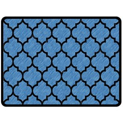 Tile1 Black Marble & Blue Colored Pencil (r) Double Sided Fleece Blanket (large) by trendistuff