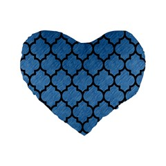 Tile1 Black Marble & Blue Colored Pencil (r) Standard 16  Premium Flano Heart Shape Cushion  by trendistuff