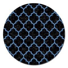 Tile1 Black Marble & Blue Colored Pencil Magnet 5  (round) by trendistuff