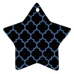 Tile1 Black Marble & Blue Colored Pencil Star Ornament (two Sides) by trendistuff