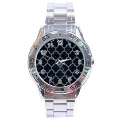Tile1 Black Marble & Blue Colored Pencil Stainless Steel Analogue Watch by trendistuff