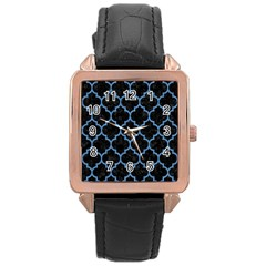 Tile1 Black Marble & Blue Colored Pencil Rose Gold Leather Watch  by trendistuff