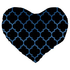 Tile1 Black Marble & Blue Colored Pencil Large 19  Premium Flano Heart Shape Cushion by trendistuff