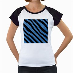 Stripes3 Black Marble & Blue Colored Pencil (r) Women s Cap Sleeve T by trendistuff