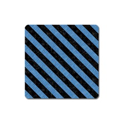 Stripes3 Black Marble & Blue Colored Pencil (r) Magnet (square) by trendistuff