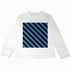 Stripes3 Black Marble & Blue Colored Pencil (r) Kids Long Sleeve T Shirt by trendistuff