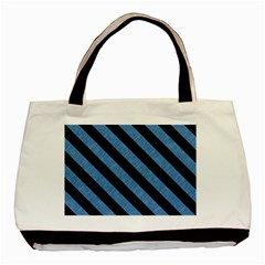 Stripes3 Black Marble & Blue Colored Pencil (r) Basic Tote Bag by trendistuff