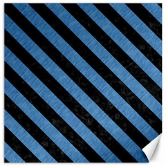Stripes3 Black Marble & Blue Colored Pencil (r) Canvas 12  X 12  by trendistuff