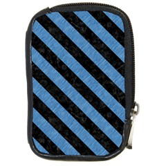 Stripes3 Black Marble & Blue Colored Pencil (r) Compact Camera Leather Case by trendistuff