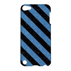 Stripes3 Black Marble & Blue Colored Pencil (r) Apple Ipod Touch 5 Hardshell Case by trendistuff
