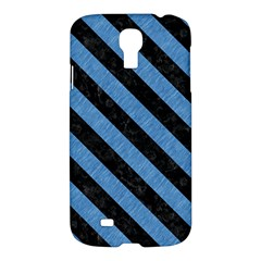 Stripes3 Black Marble & Blue Colored Pencil (r) Samsung Galaxy S4 I9500/i9505 Hardshell Case by trendistuff