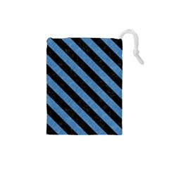 Stripes3 Black Marble & Blue Colored Pencil (r) Drawstring Pouch (small) by trendistuff