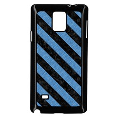 Stripes3 Black Marble & Blue Colored Pencil (r) Samsung Galaxy Note 4 Case (black) by trendistuff