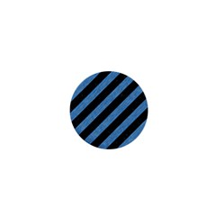 Stripes3 Black Marble & Blue Colored Pencil 1  Mini Magnet by trendistuff