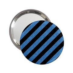 Stripes3 Black Marble & Blue Colored Pencil 2 25  Handbag Mirror by trendistuff