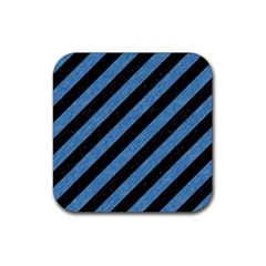 Stripes3 Black Marble & Blue Colored Pencil Rubber Square Coaster (4 Pack)