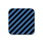 STRIPES3 BLACK MARBLE & BLUE COLORED PENCIL Rubber Square Coaster (4 pack) Front