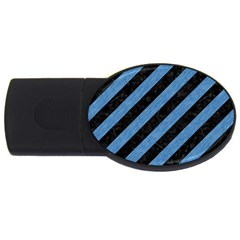 Stripes3 Black Marble & Blue Colored Pencil Usb Flash Drive Oval (2 Gb) by trendistuff